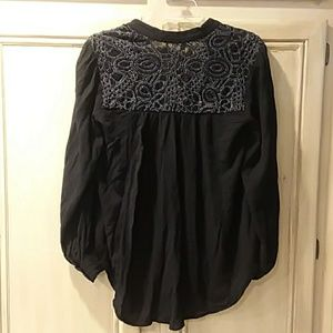 Free people small black embroidered long sleeve bl